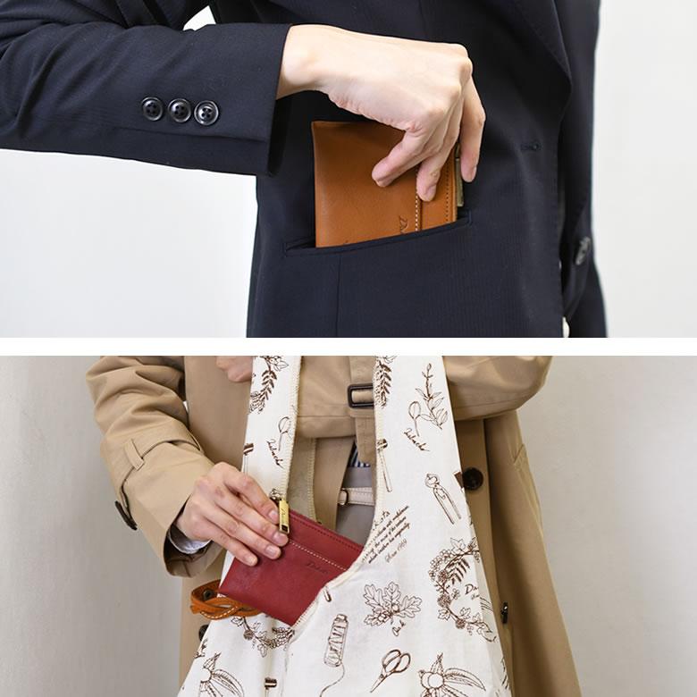 スリム財布 コンパクトサイズ 手のひらサイズの財布 お金もカードも入る ダコタ ラルゴ 国産 牛革 本革 ミニ財布 レディース 女性 キャメルマスタードブラウン
