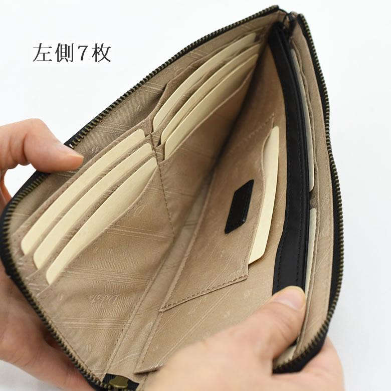 ダコタ 財布 スリム財布 ファスナー長 ウォレット 女性 レディース カード13枚 薄い財布 人気 ブランド 革 レザー 左側7枚