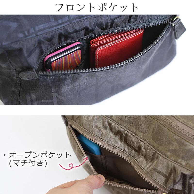 ショルダーバッグ レディース ブランド 黒 ハナエモリ 斜めがけバッグ ナイロン 軽量 黒 人気 防水 弱撥水 きれいめ シニア ミセス ポケット充実 機能的 フロントポケット