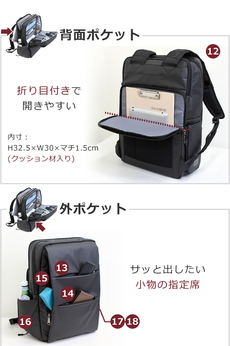 ビジネスバッグ リュック パソコンバッグ テレワーク リモートワーク 外ポケット多機能 折り畳み傘 パスケース 背面ポケット貴重品 タブレット A4ファイル
