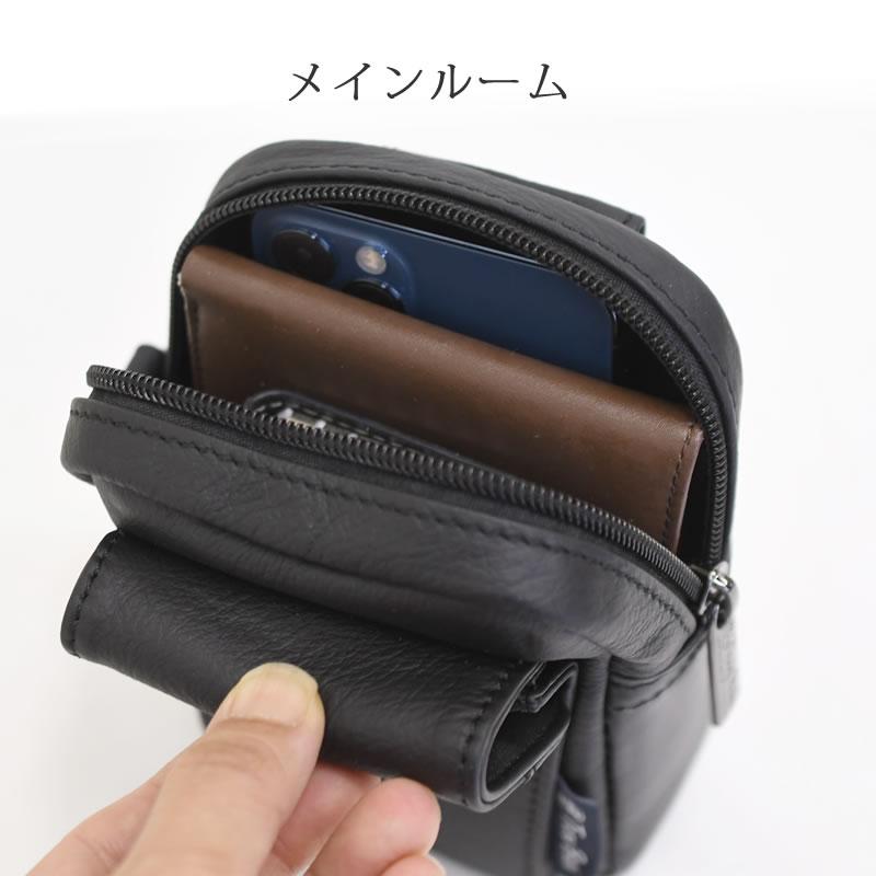ポーチ メンズ 小物 スマホ 財布 革 レザー 旅行 ベルト固定 小さい ウエストポーチ 50代 60代 70代 小さめ スマホケース 軽量 軽い