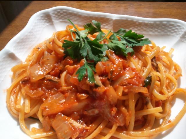 南イタリア風 いわしのトマトソース リングイネ