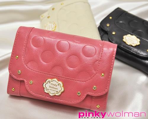 pinkywolman財布ドットの型押しやかぶせの縁どりが可愛い