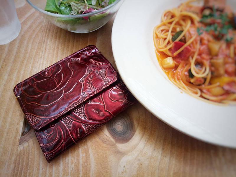 Arukanラメローザ薔薇柄財布